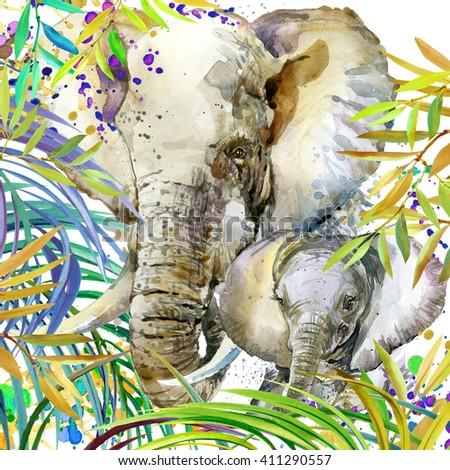 Elephant and baby elephant. Watercolor Elephant on plant background. Watercolor Elephant illustration. - stock photo
