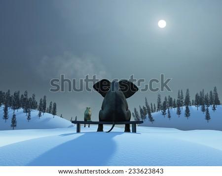 elephant and dog at Christmas night - stock photo