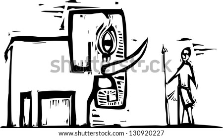 Elephant and native hunter with spear in woodcut style. - stock photo