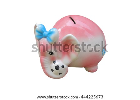 Elephant Bank Isolated on White Background,This have clipping paths - stock photo