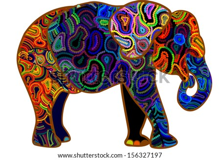 elephant from different elements is a symbol of Africa - stock photo