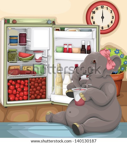 Elephant Glutton bitmap copy - stock photo