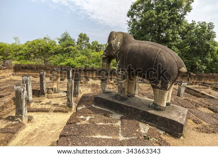 Elephant in ancient Angkor Wat temple, Cambodia - stock photo