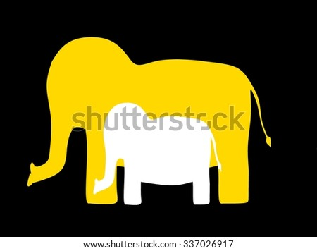 Elephant mother and baby - stock photo