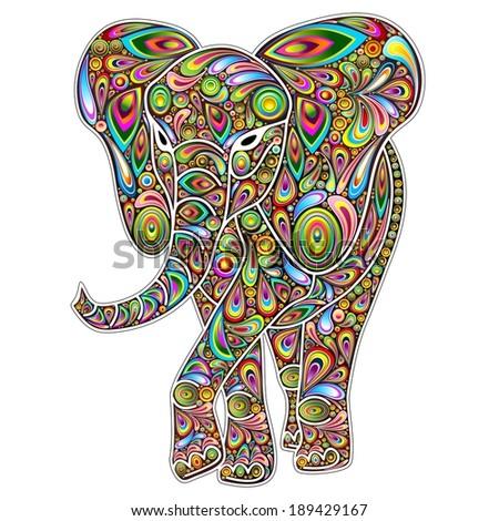 Elephant Psychedelic Pop Art on White  - stock photo