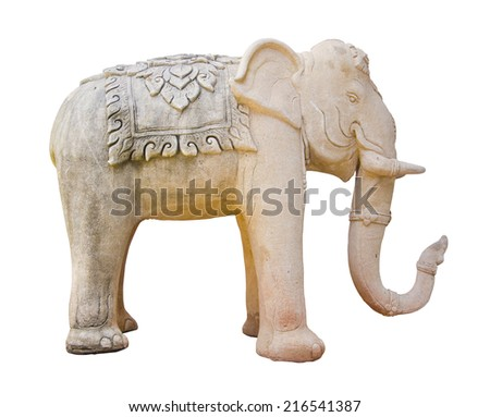 elephant Sculpture isolated on white background. clipping path. - stock photo