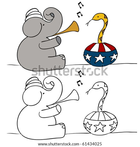 Elephant Snake Charmer - stock photo