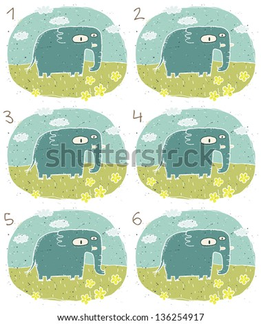 Elephant Visual Game for children. Task: Find two identical images (match the pair)! Answer: No. 2 and 6. (for vector see image 114653242) - stock photo