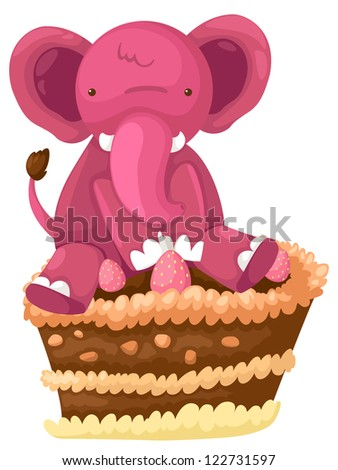 Elephant with cake chocolate .JPG (EPS vector version id 121524652,format also available in my portfolio) - stock photo