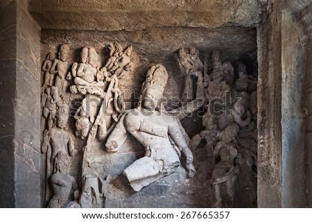 Elephanta Island caves near Mumbai in Maharashtra state, India - stock photo
