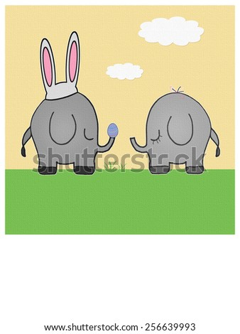 Elephants - Easter - Text - stock photo