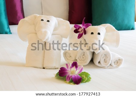 elephants made �¢??�¢??out of towels in Thai hotel - stock photo