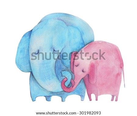 Elephants. Mother and child. Watercolor illustration. Hand drawing - stock photo