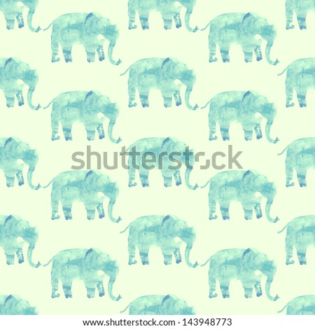 Elephants seamless watercolor illustration - stock photo
