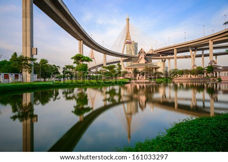 Elevated expressway. The curve of suspension bridge, Thailand. - stock photo
