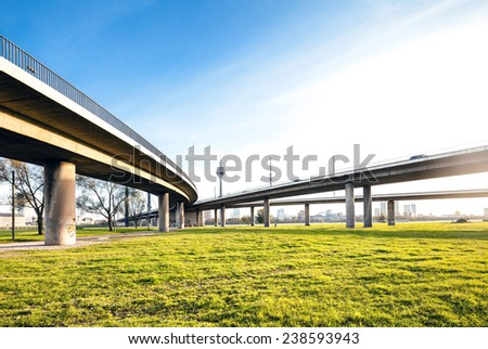Elevated highway bridge interchange - stock photo