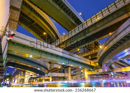 Elevated Highways and Roads in Osaka, Japan. - stock photo