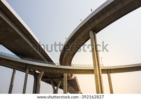 Elevated large expressway overhead - stock photo