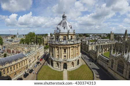 Elevated panorama of the world famous Bodleian Library in Oxford, UK - stock photo