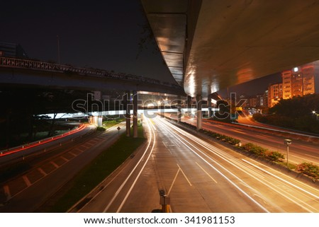 Elevated road in the city - stock photo
