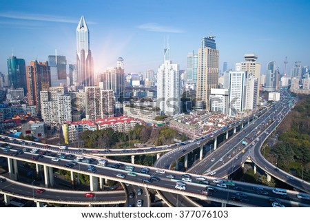 elevated road junction panorama in shanghai at dusk,China - stock photo