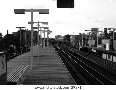 elevated train platform in Chicago - stock photo