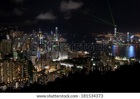 Elevated view of an illuminated Hong Kong at night - stock photo