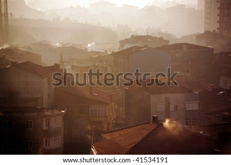 elevated view of buildings in istanbul, Turkey - stock photo