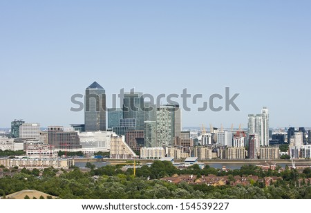 Elevated view of Canary Wharf, London - stock photo
