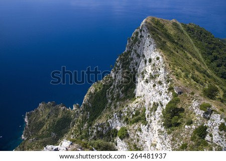 Elevated view of Capri, an Italian island off the Sorrentine Peninsula on the south side of Gulf of Naples, in the region of Campania, Province of Naples, Italy, Europe - stock photo