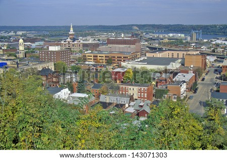 Elevated view of Dubuque, Iowa - stock photo