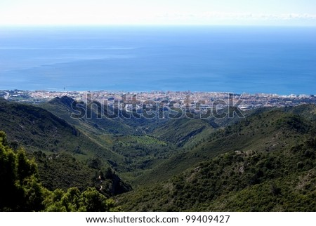 Elevated view of Marbella town and sea, Marbella, Costa del Sol, Malaga Province, Andalucia, Spain, Western Europe. - stock photo