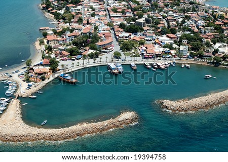 elevated view of old city and harbour from Antalya, Turkey - stock photo