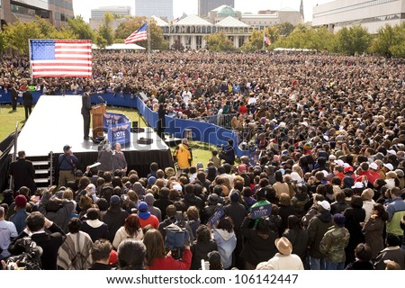 Elevated view of Presidential Candidate Barack Obama at early vote for change Presidential rally, October 29, 2008 at Halifax Mall, Government Complex in Raleigh, NC - stock photo