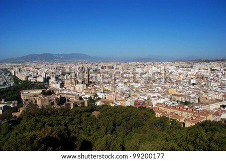 Elevated view of the city featuring the cathedral, Malaga, Costa del Sol, Malaga Province, Andalusia, Spain, Western Europe. - stock photo