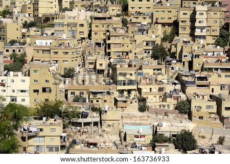 Elevated View of the City from the Citadel, Amman, Jordan - stock photo
