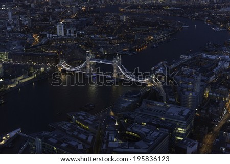 Elevated view of The City of London on a clear Spring night. Grained. - stock photo