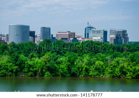 elevated view of Washington DC by the Potomac river. In the picture is Theodore Roosevelt island - stock photo