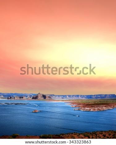Elevated view sunrise at Lake Powell in the Arizona Desert - stock photo