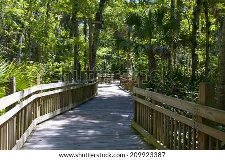 Elevated wooden walkway over swamps in heavy wooded area - stock photo