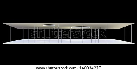 Elevation of Conceptual modern building on black background - stock photo