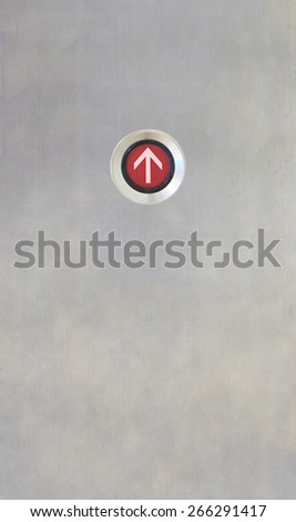 Elevator Button up red direction on stainless plate - stock photo