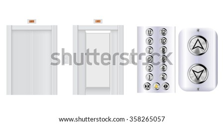 Elevator buttons panel. Elevator with open doors and with closed doors.  Raster version isolated on white background. - stock photo