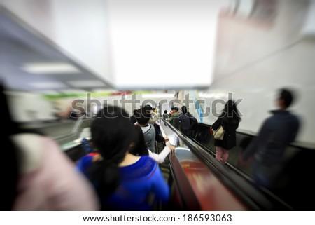 elevator in metro station - stock photo