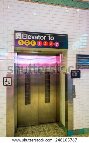 Elevator in New York City subway. - stock photo
