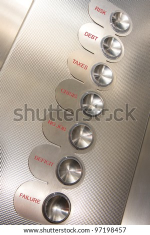 Elevator's button with different crisis floors - stock photo