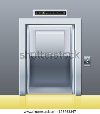 elevator with opened door. Rasterized illustration. Vector version also available in my gallery. - stock photo