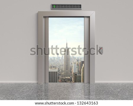 elevator with opened doors to city - stock photo