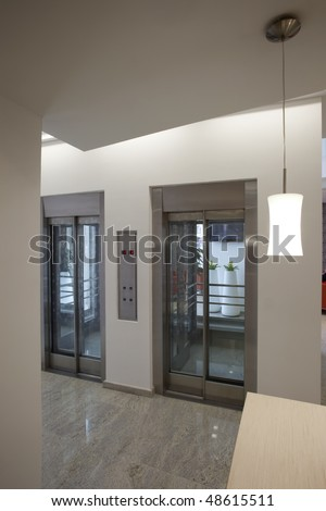 elevators with glass door - stock photo