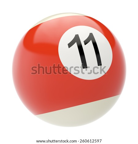 Eleven billiard ball isolated on white background. 3d illustration high resolution - stock photo